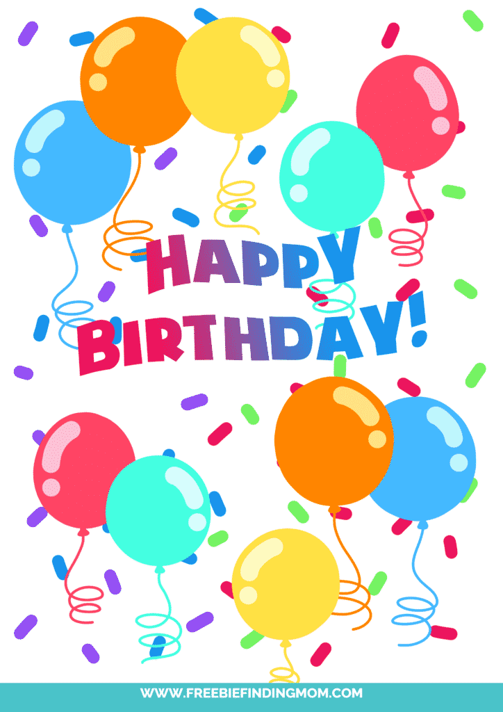 Celebrate with this free happy birthday sign printable featuring balloons and confetti!