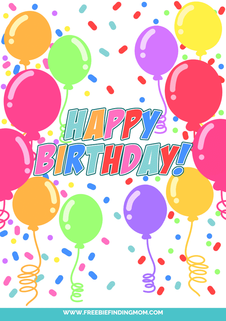 This free happy birthday sign printable PDF is another version of balloons and confetti with different colors and font.