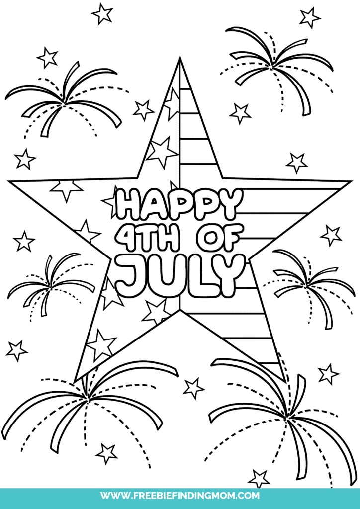 Celebrate America's independence with free printable 4 of July coloring pages like this one featuring a patriotic star!