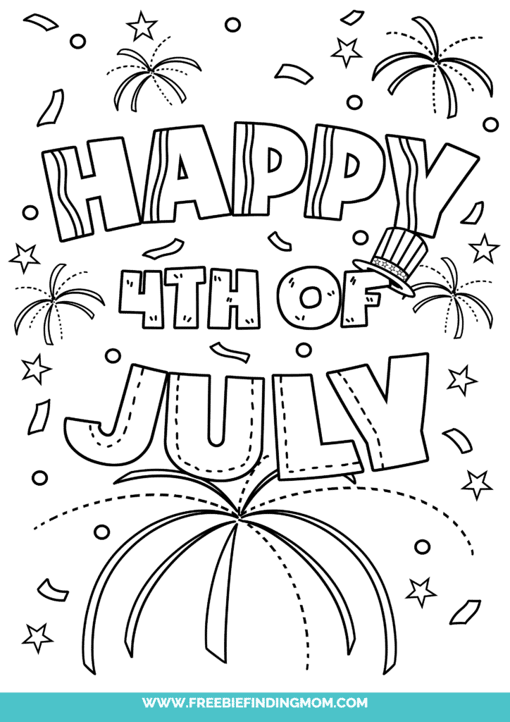 Free printable 4th of July coloring pages like this one featuring a celebration complete with fireworks and confetti is perfect for kids of all ages.