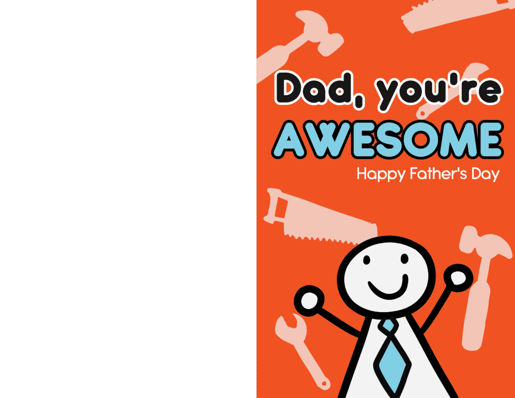 Free printable Father's Day cards for husband like this one with a stick figure with a tie and tools, are sure to brighten Dad's day!