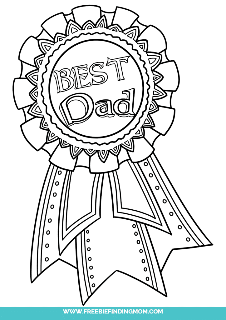 Free printable Happy Father's Day coloring pages, like this one of a ribbon, are a thoughtful way to show Dad just how important he is!