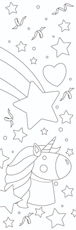 Free printable bookmarks to color, like this one with stars and a unicorn, encourage your child to use their imagination.