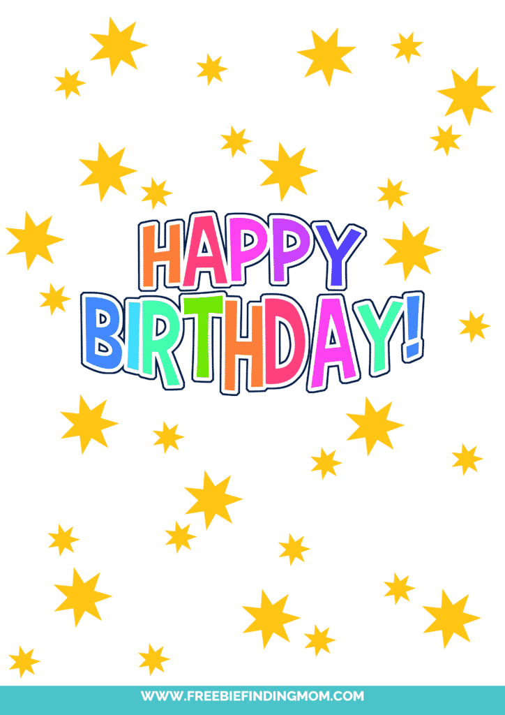 This free printable happy birthday sign featuring star bursts is like a Fourth of July celebration for someone's birthday!