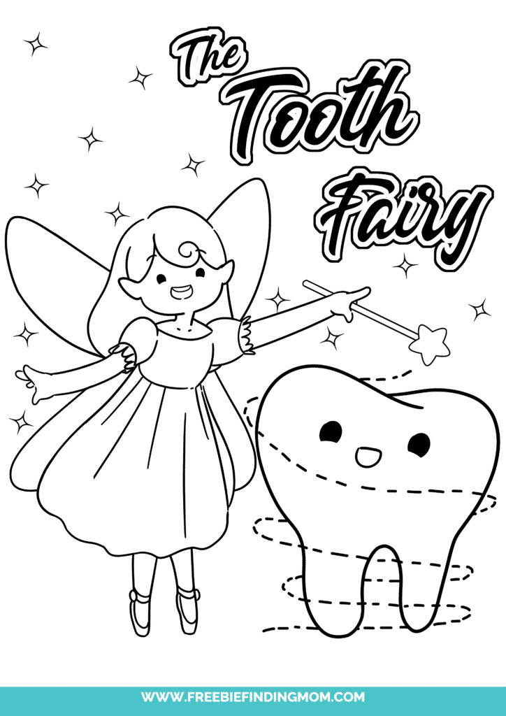 The Tooth Fairy and the lost tooth are all smiles in this free printable Tooth Fairy coloring page.