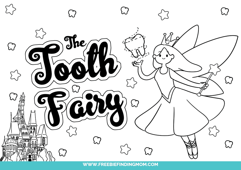 Free printable Tooth Fairy coloring pages like this one shows your kid what the Tooth Fairy does with all those teeth—she uses them in her castle!
