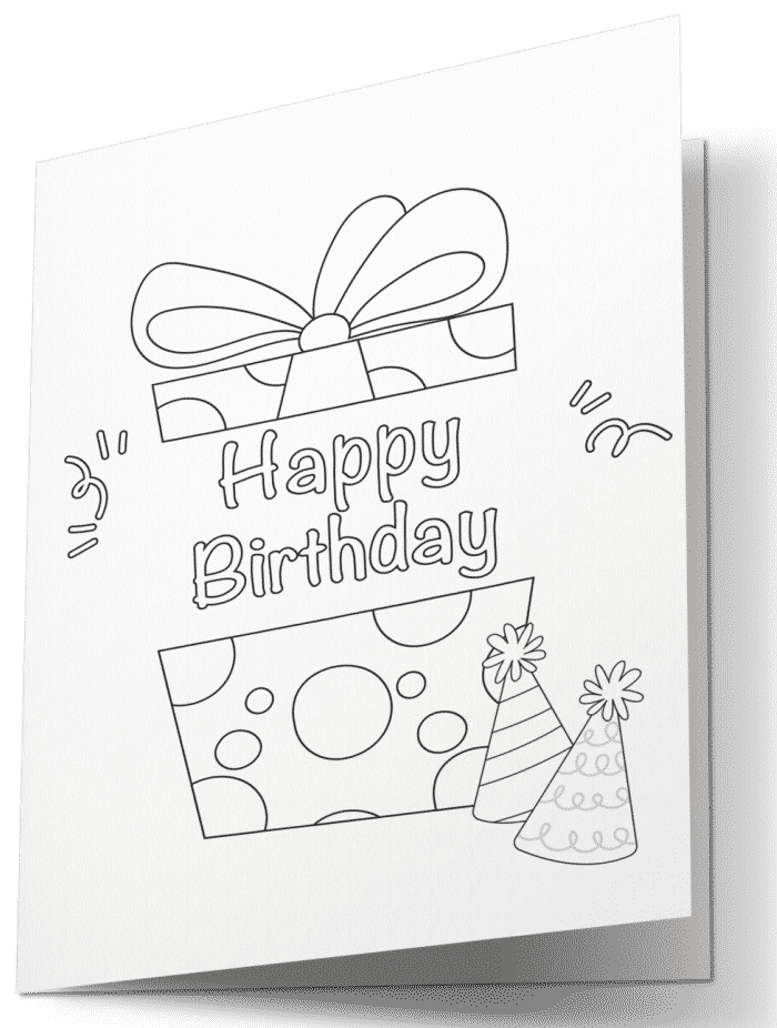 Surprise someone special in your life with a free happy birthday card to print and color, like this one featuring a gift and party hats.