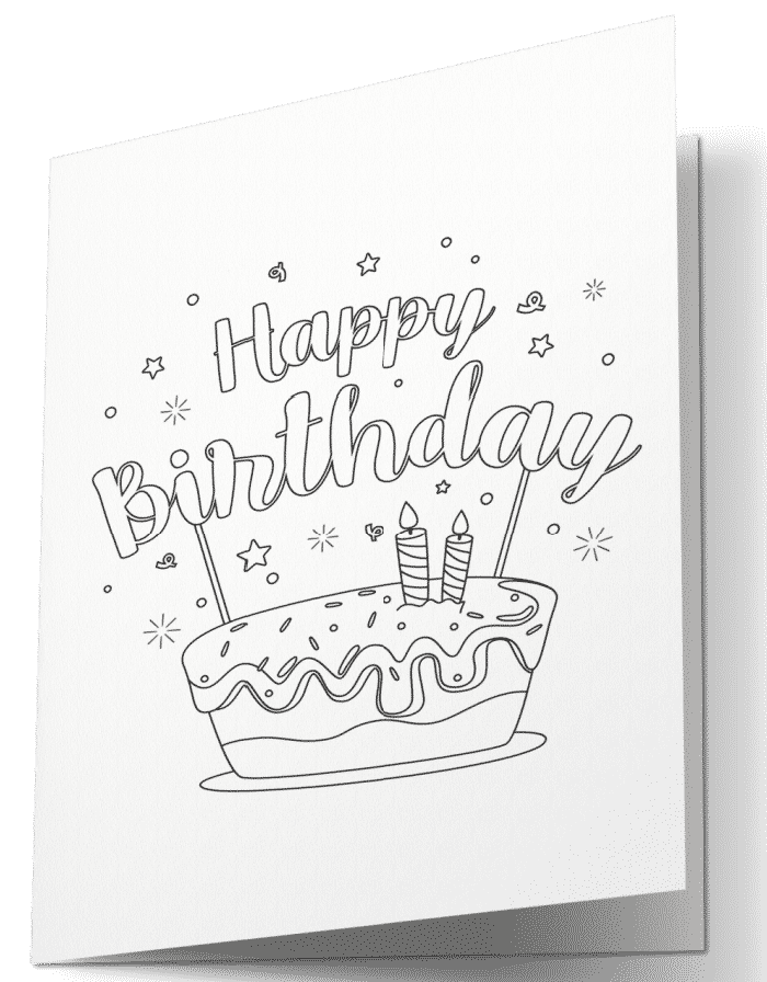 One of 3 free happy birthday printable cards to color, this card features a sweet treat that looks good enough to eat!
