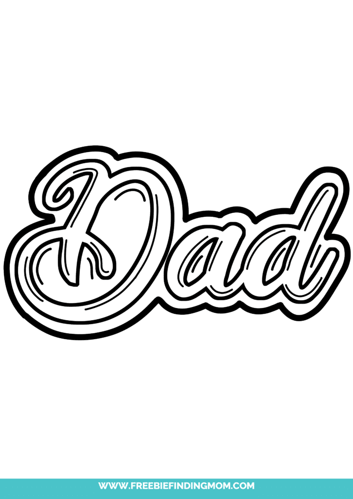 If Dad is still young and hip, learn how to draw Dad in bubble letters like this fancy almost cursive option.
