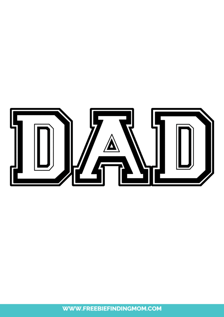 Celebrate Dad's athletic history by learning how to write dad in bubble letters like this option that resembles a sports emblem.