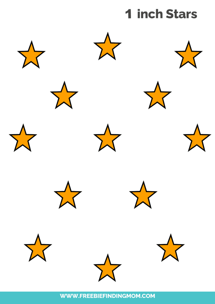 yellow 1 inch free printable small star template