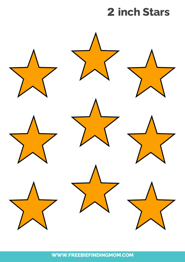 yellow 2 inch free printable star cut out template