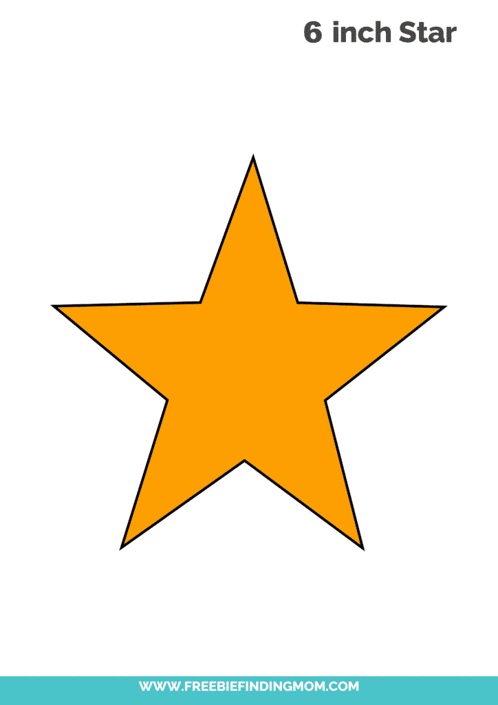 yellow 6 inch printable star template free