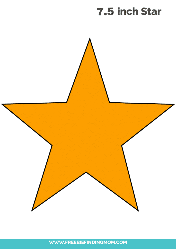 yellow 7.5 inch large star template printable