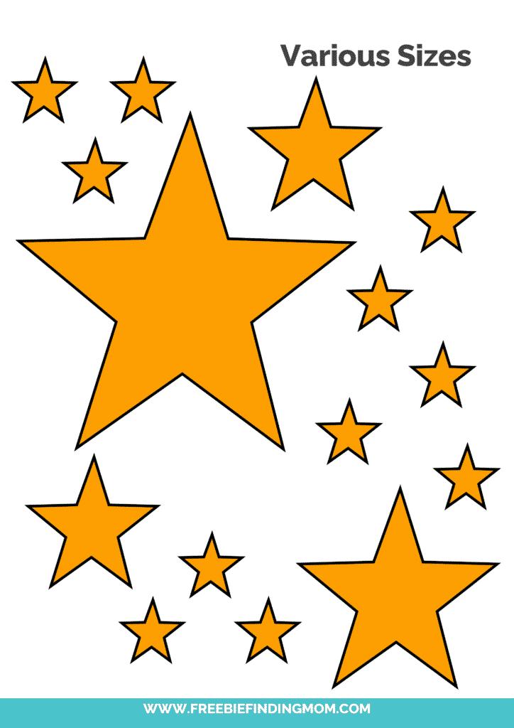 yellow free printable star templates