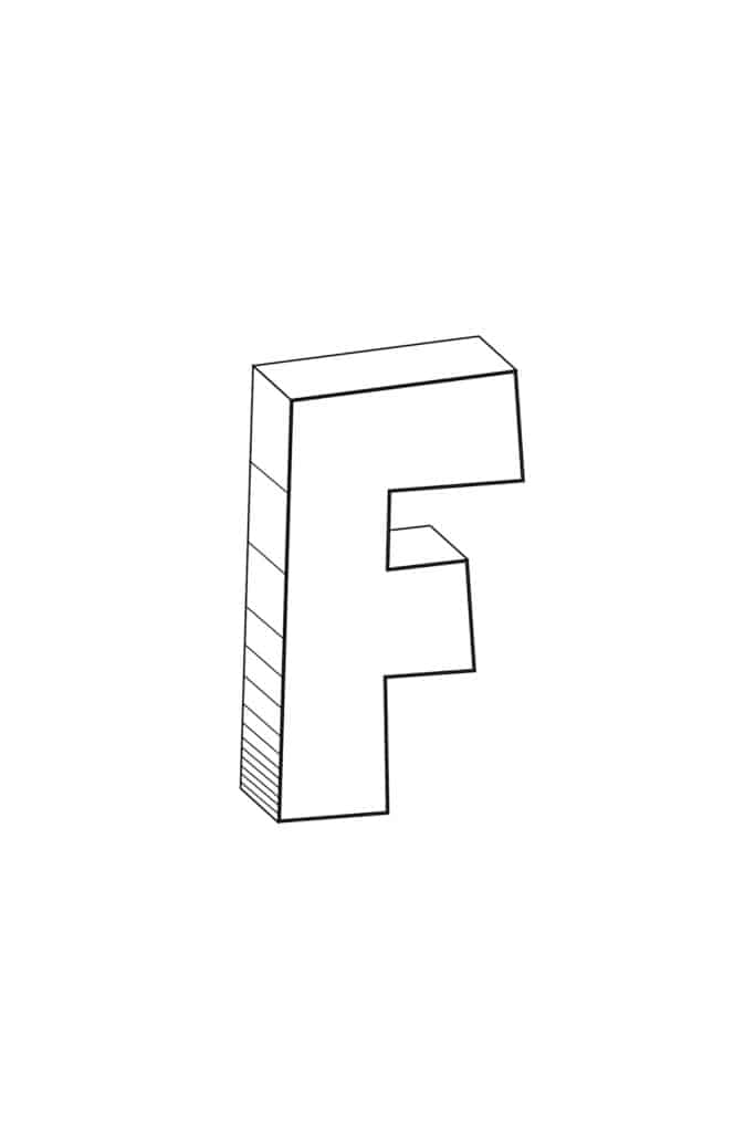 free printable cool bubble letter F