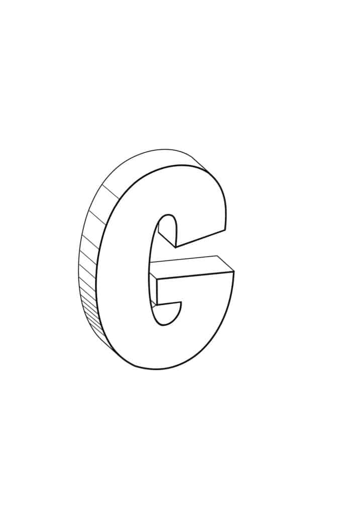 free printable cool bubble letter G