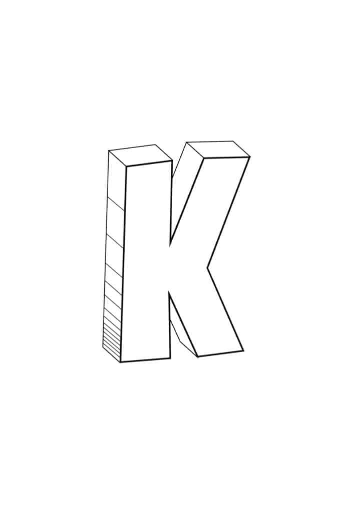 free printable cool bubble letter K