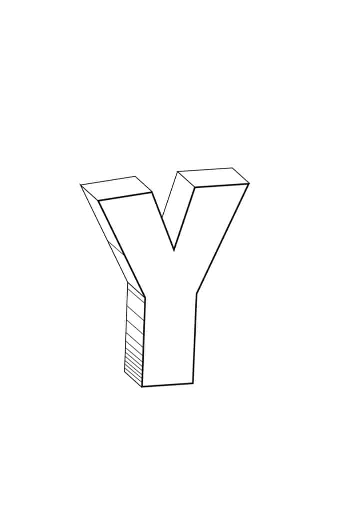 free printable cool bubble letter Y