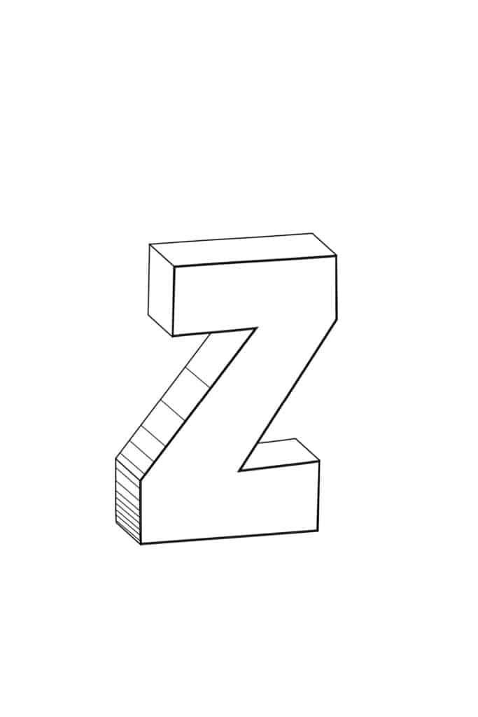 free printable cool bubble letter Z