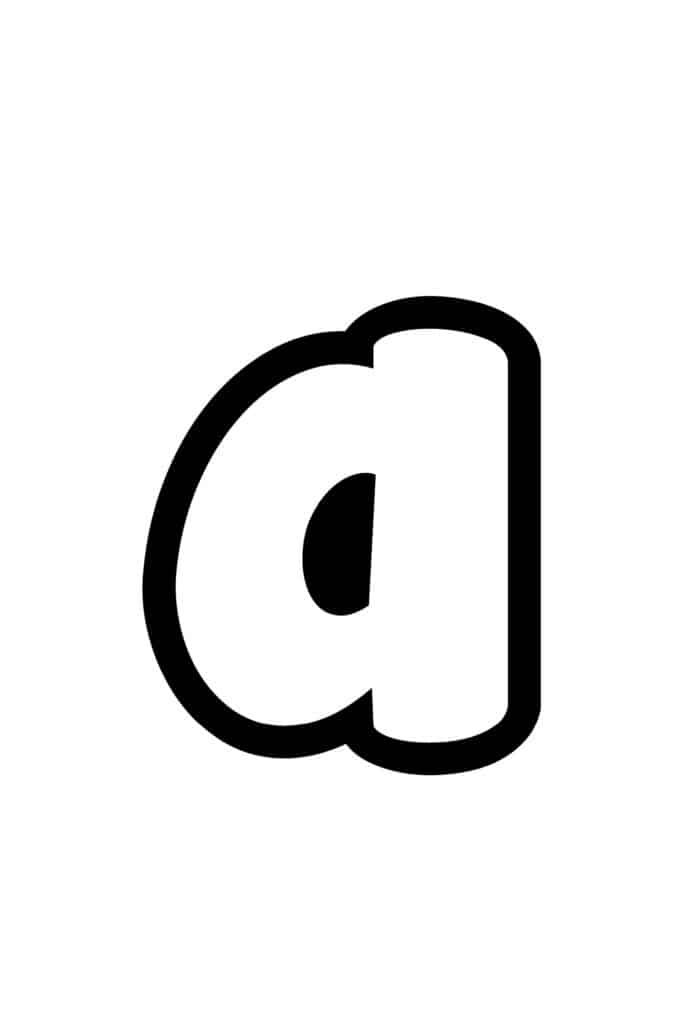 free printable lowercase A bubble letter stencil