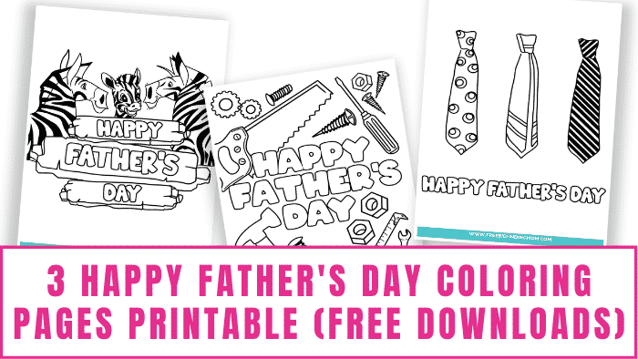 These Happy Father's Day coloring pages printable free downloads are adorable. Your kids will have fun decorating these Father's Day printables for dad.