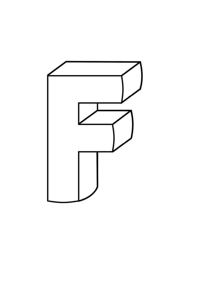 printable 3D bubble letter F
