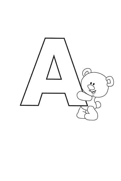 printable bubble letters teddy bear letter A
