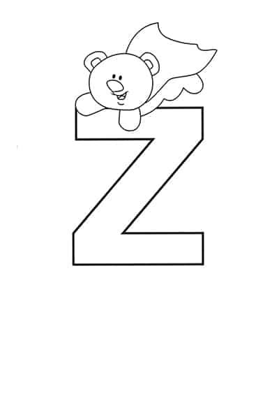 printable bubble letters teddy bear letter Z