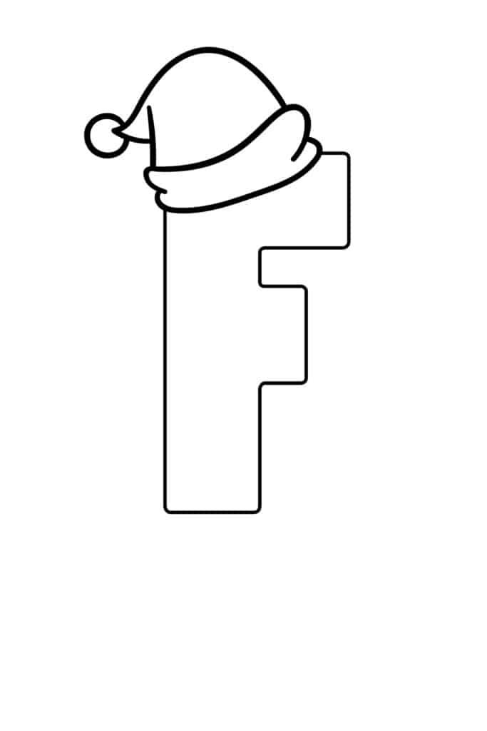 printable christmas bubble letter F