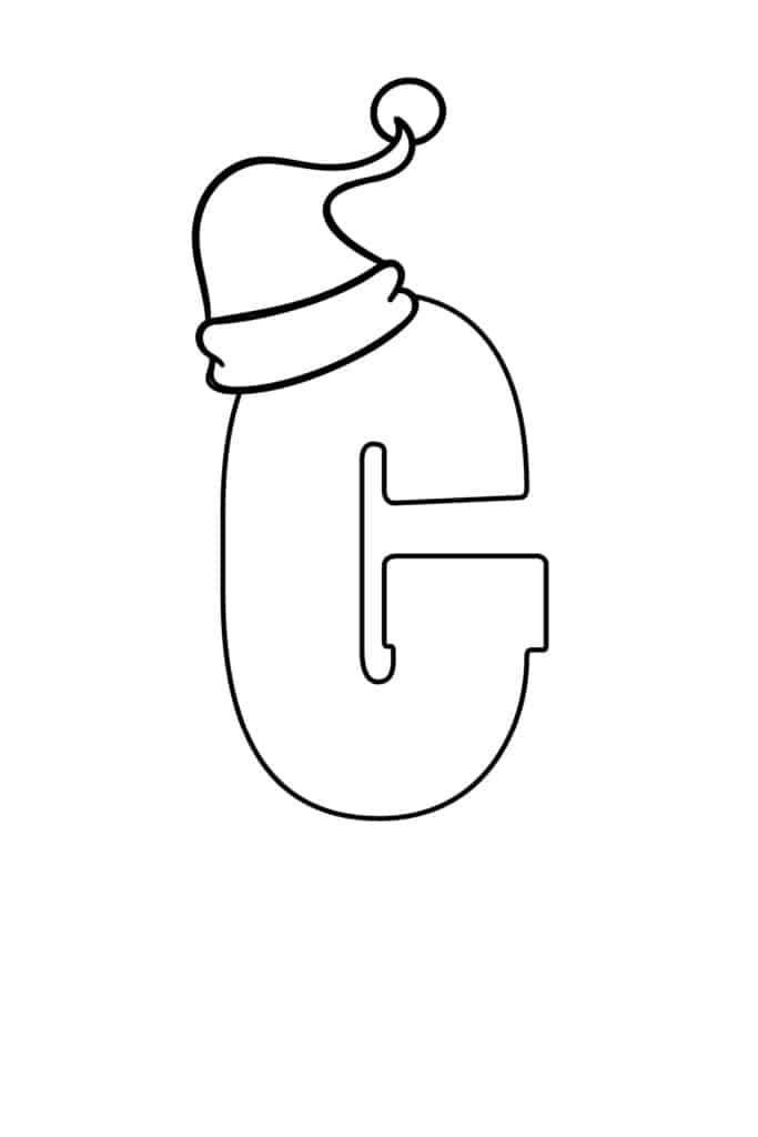 printable christmas bubble letter G