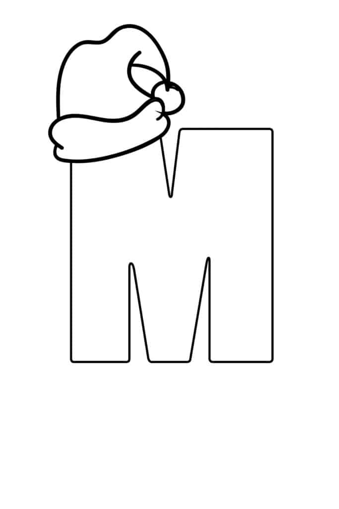 printable christmas bubble letter M