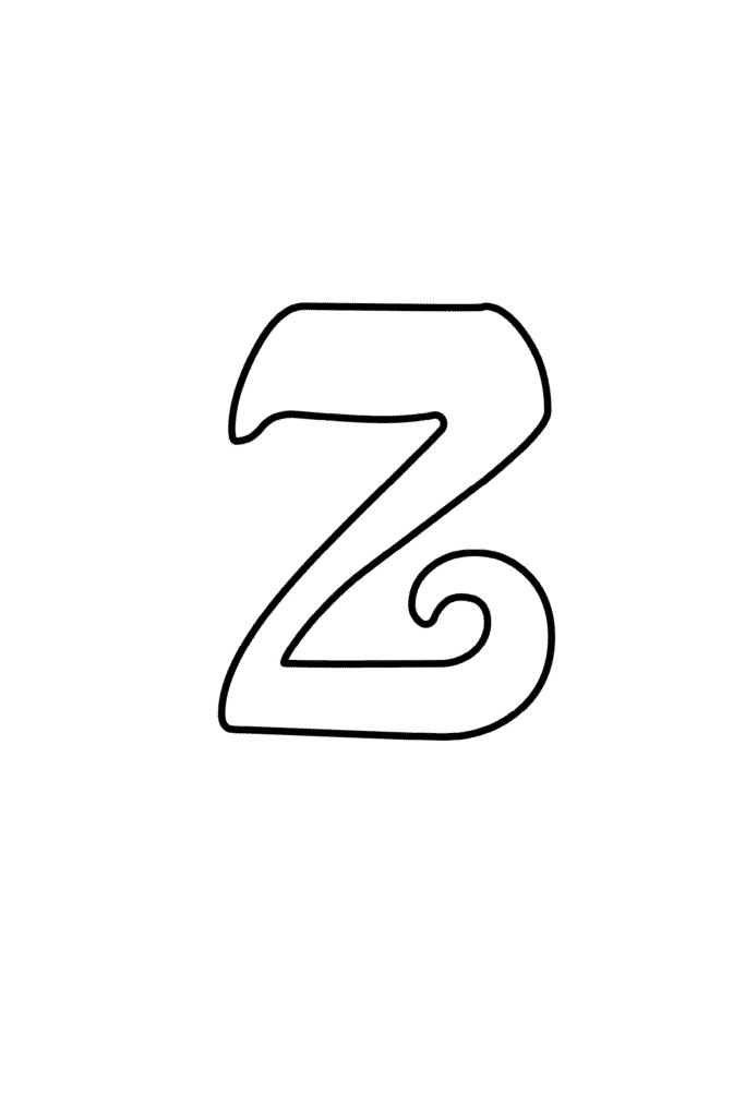 printable cursive bubble letter  Z