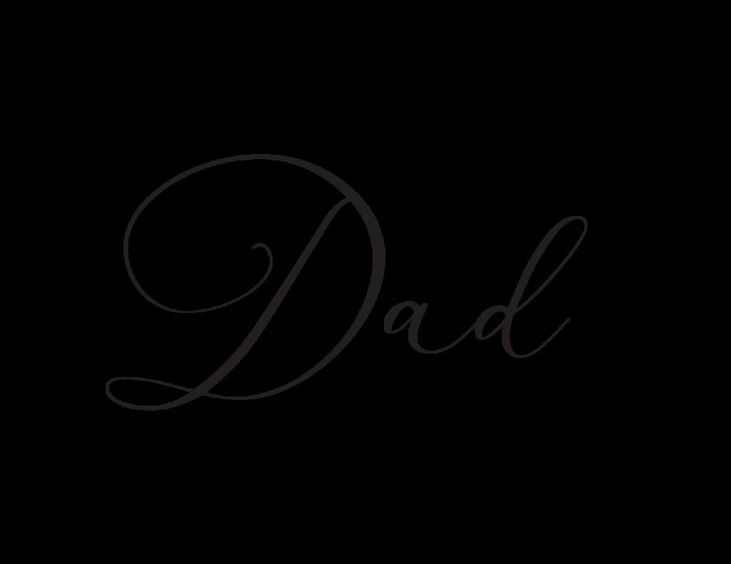 This free printable dad cursive font is a more formal and elegant style.