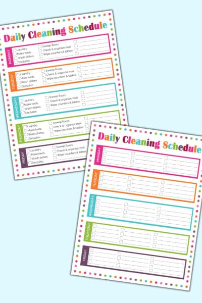 daily cleaning schedule printables