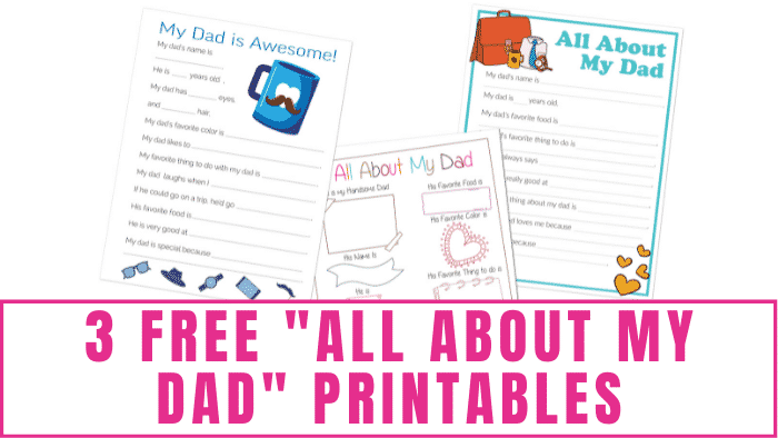 Need DIY Father's Day gift ideas for young kids? These free all about my dad printables make great gifts for dad because kids' answers are usually funny and sweet.