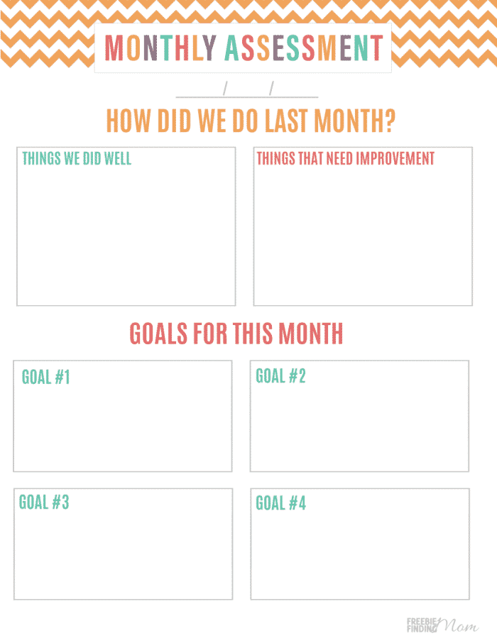 The free budget folder printable also includes a monthly assessment sheet, so you can review your progress and adjust as needed.