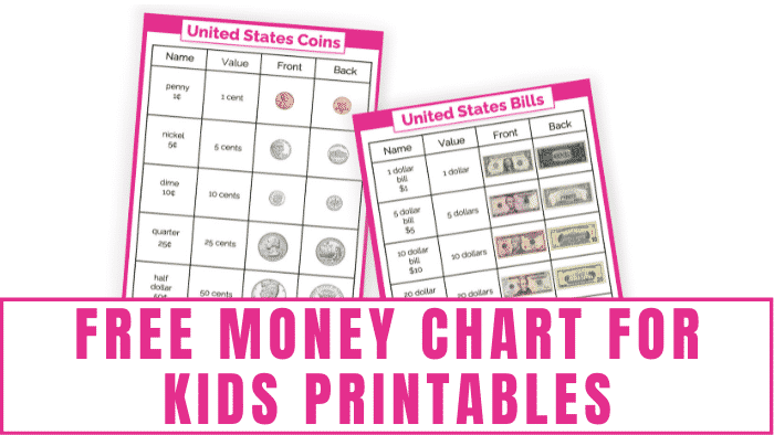 These free money chart for kids printables help your kid learn U.S. currency. They will learn what U.S. coins and bills are worth and look like.