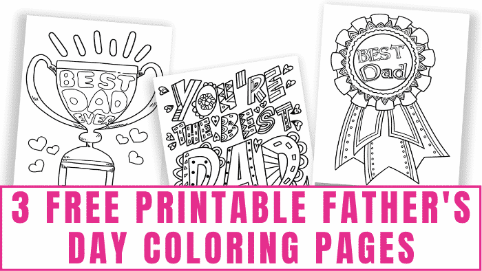 """What dad wouldn't love free printable Fathers Day coloring pages with a ribbon or trophy on them that says, """"Best Dad?"""""""