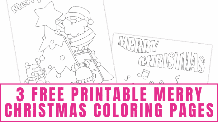 """Use these free printable """"Merry Christmas"""" coloring pages as your family's Christmas card. Let the kids decorate them to make beautiful one-of-a-kind cards."""
