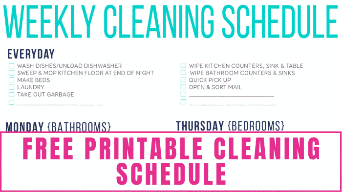 This free printable cleaning schedule lists household chores by day so you can focus on cleaning specific rooms at a time.