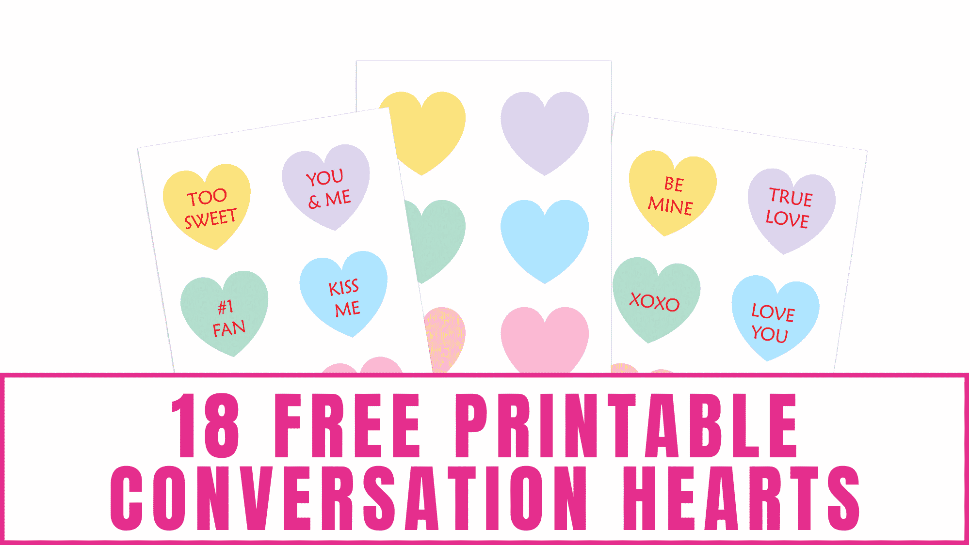 These free printable conversation hearts may not taste as sweet as the candy, but they still send a sweet message to someone special.