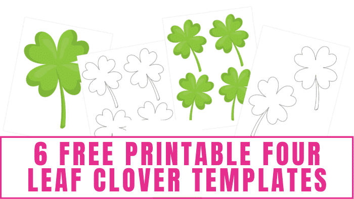 These free printable four leaf clover templates make cheap St. Patrick's Day decorations and can be used in many St. Patrick's Day crafts for kids and adults.