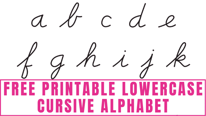 Does your kid need help learning how to write in cursive? A free printable lowercase cursive alphabet like this can help them recognize and write cursive letters.