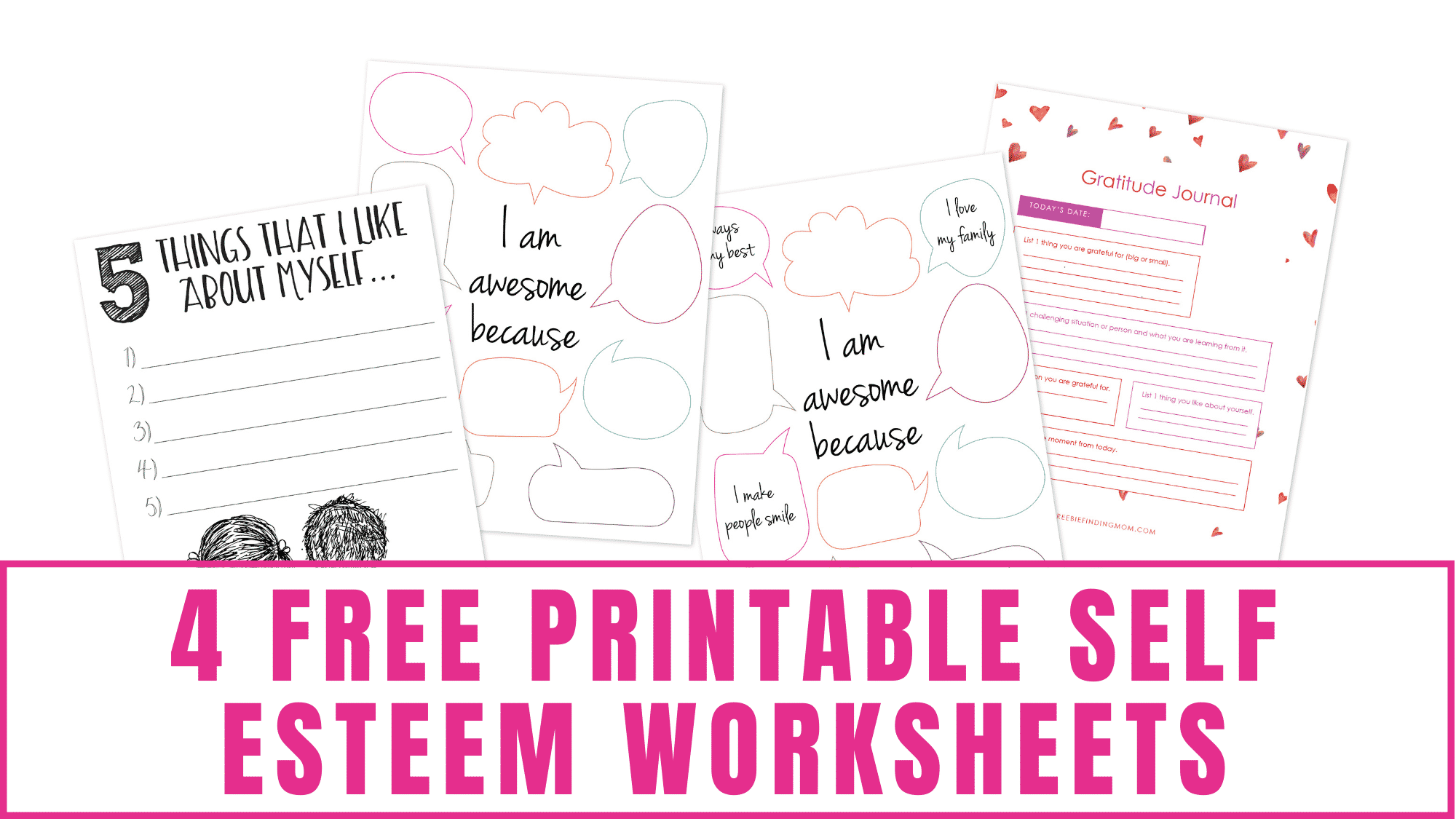 Free printable self esteem worksheets including a gratitude journal is a great way at expressing your gratitude and appreciation daily.