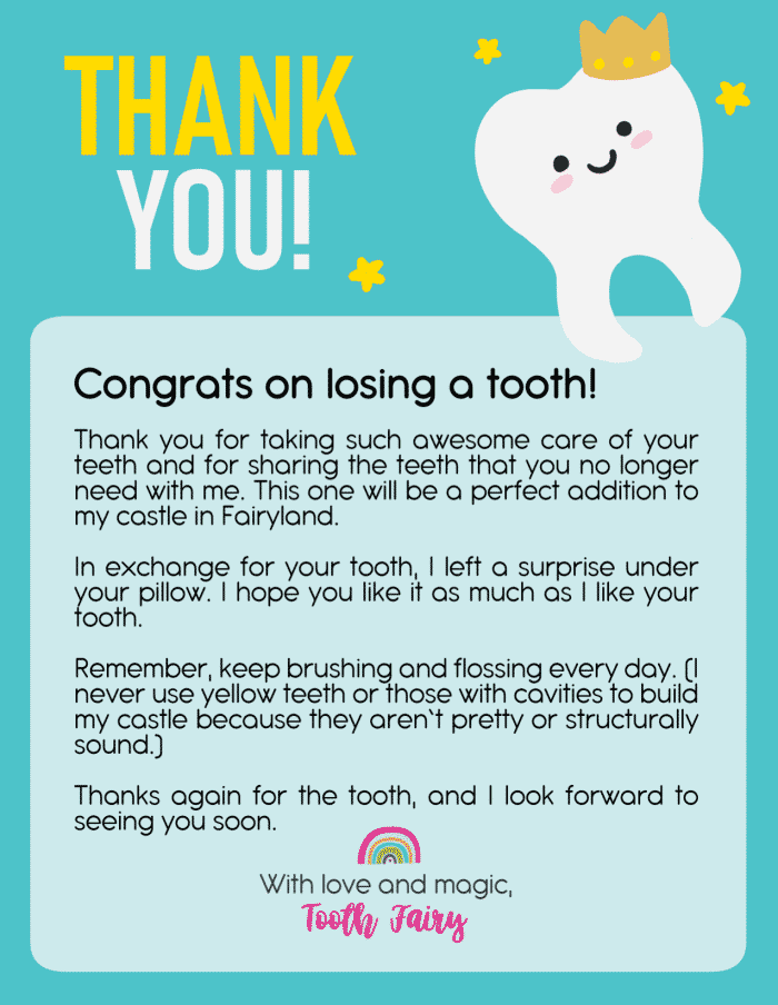 This short and sweet free printable Tooth Fairy letter is sure to get your kid excited about losing a tooth!