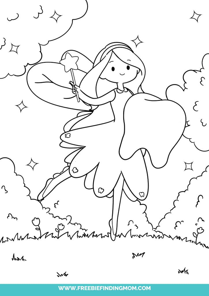 This free Tooth Fairy coloring pages printable shows you how small yet mighty the Tooth Fairy is; looks at her next to the tooth!