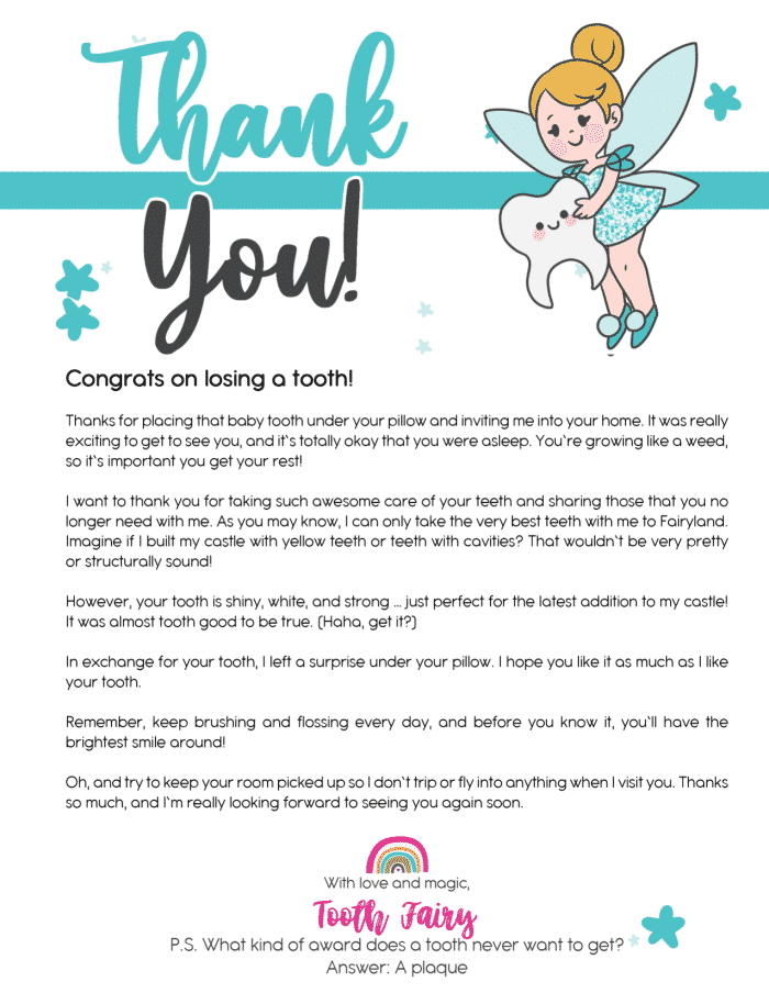 This longer free Tooth Fairy letter printable has a built in bonus for parents in that it reminds kids to keep their rooms tidy!