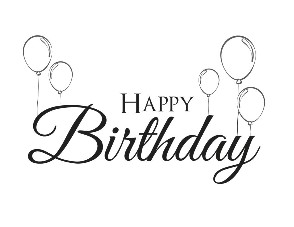 This happy birthday calligraphy free printable features an elegant script as well as balloons!