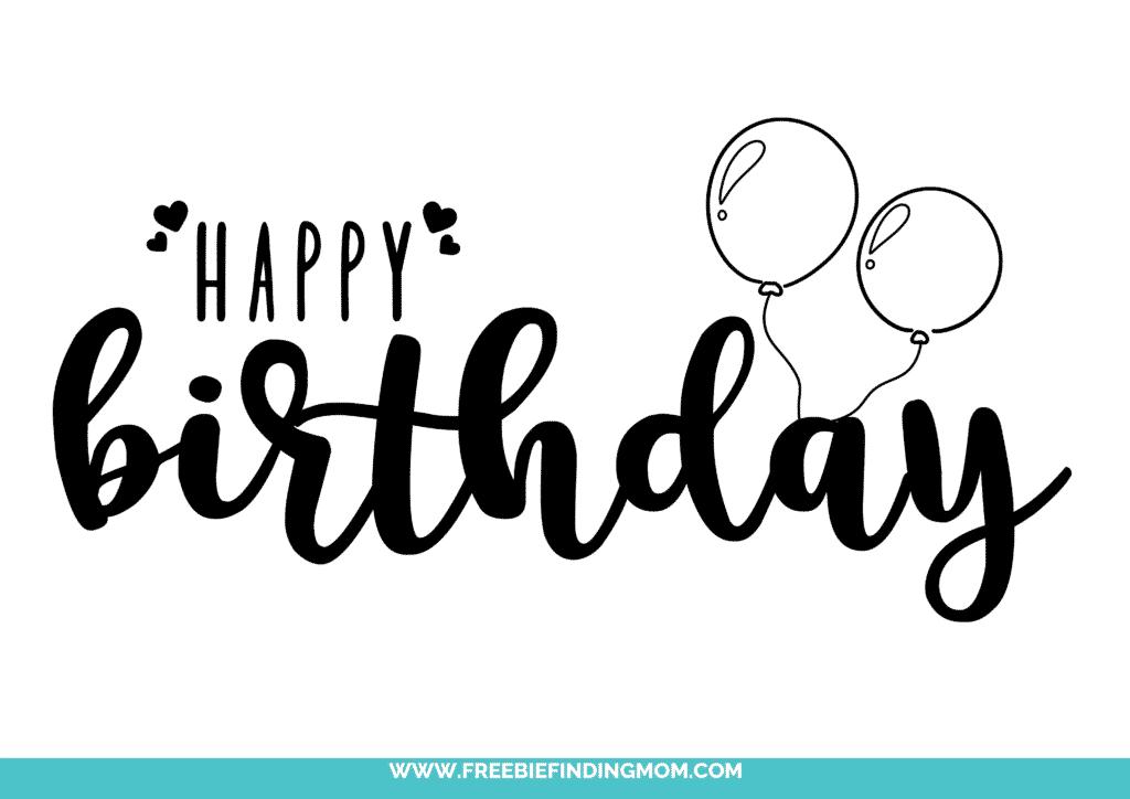 Two balloons hold this happy birthday cursive font free printable aloft!